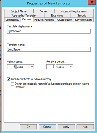 Certificate template weakestlync lync and skype for business enter a display name eg lyncserver and change the validity period to 5 years click apply you should also check that the private key is exportable in yadclub